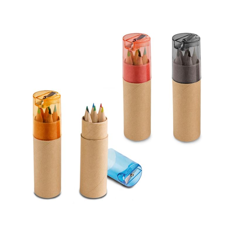 Caixa Lápis de Cor com 6 cores e Apontador
