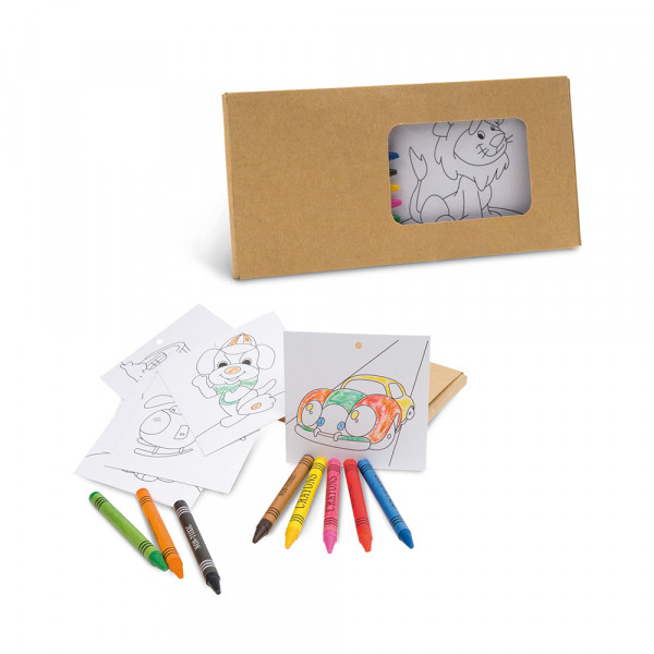 Caixa Giz de Cera  com Cards para colorir