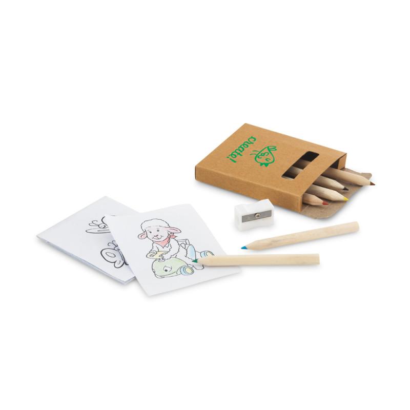 Caixa Lápis de Cor com Apontador e Cards para colorir