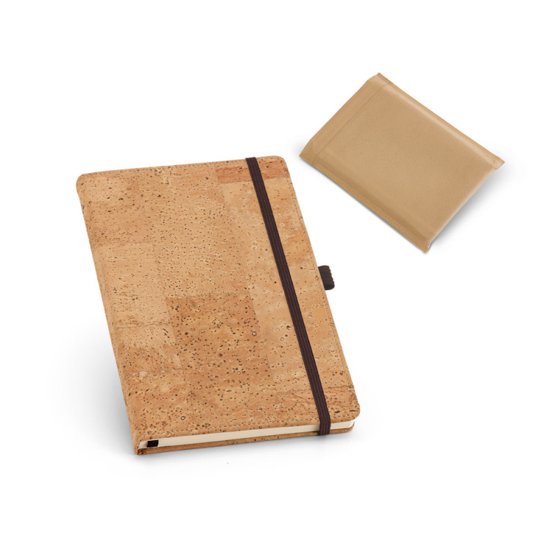 Caderno Ecológico com Capa em Cortiça e Elástico