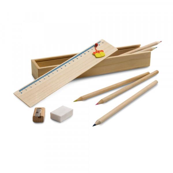 Caixa Lápis de Cor com 7 cores, Apontador, Borracha