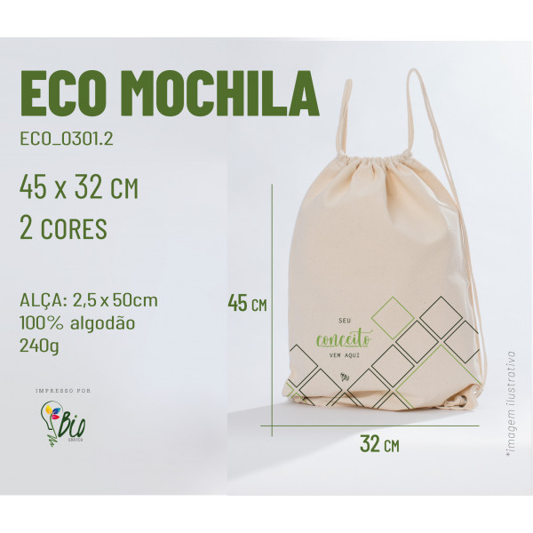 Ecobag Mochila 32x45, 2 cores