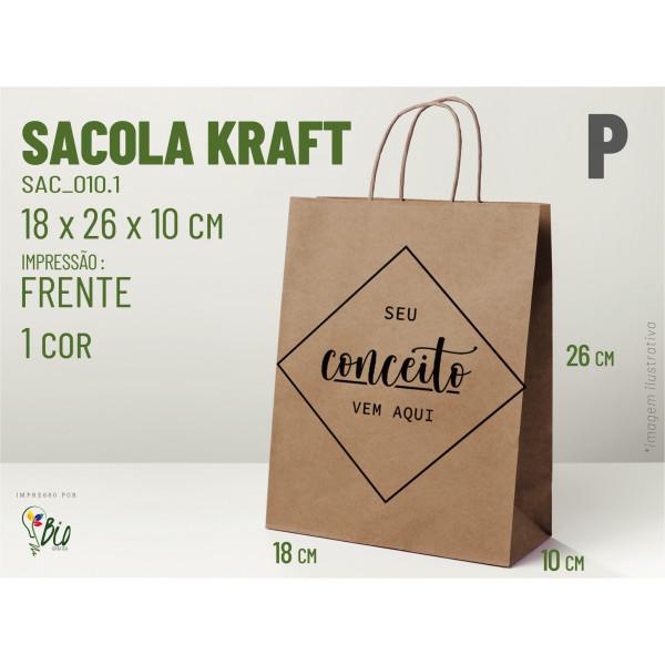 """Sacola Kraft """"P"""" - Impressão 1 Cor, 1 Lado"""