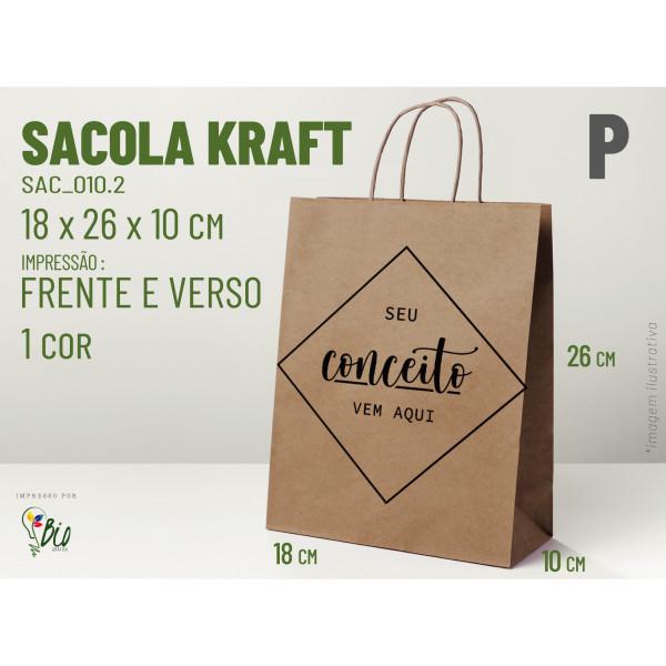 """Sacola Kraft """"P"""" - Impressão 1 Cor, 2 Lados"""