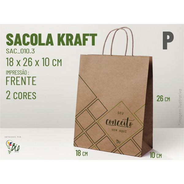 """Sacola Kraft """"P"""" - Impressão 2 Cores, 1 Lado"""