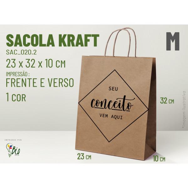 """Sacola Kraft """"M"""" - Impressão 1 Cor, 2 Lados"""