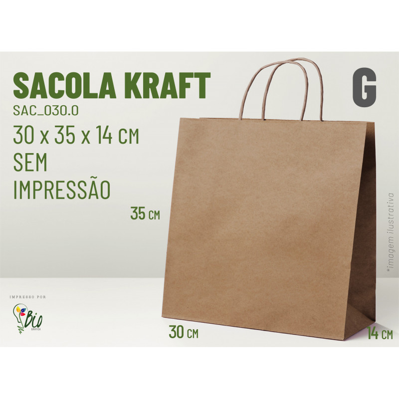 "Sacola Kraft ""G"" - Sem Impressão"