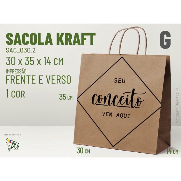 """Sacola Kraft """"G"""" - Impressão 1 Cor, 2 Lados"""