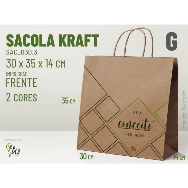 """Sacola Kraft """"G"""" - Impressão 2 Cores, 2 Lados"""