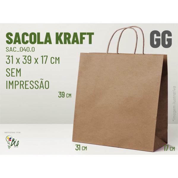 """Sacola Kraft """"GG"""" - Sem Impressão"""