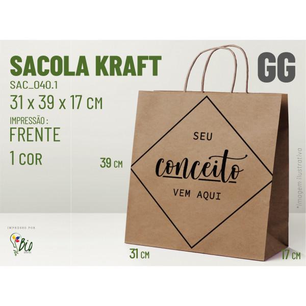 """Sacola Kraft """"GG"""" - Impressão 1 Cor, 1 Lado"""