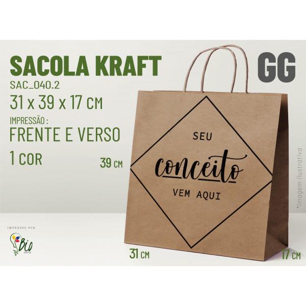 """Sacola Kraft """"GG"""" - Impressão 1 Cor, 2 Lados"""