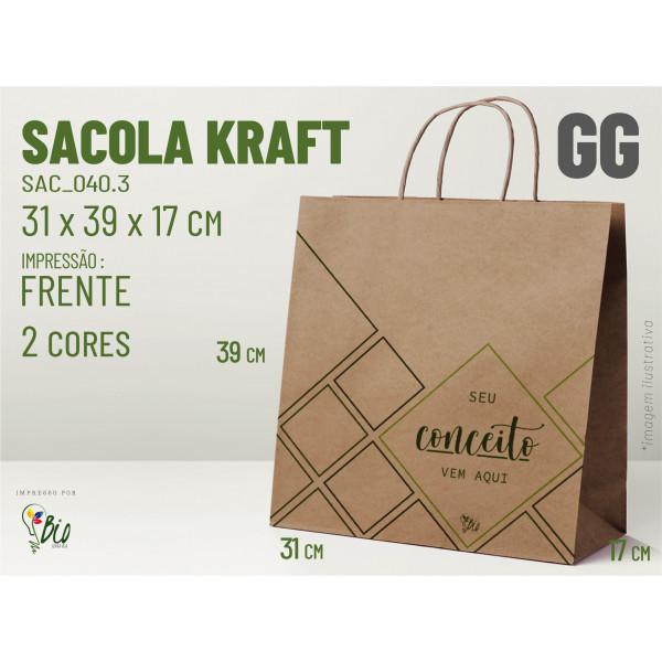 """Sacola Kraft """"GG"""" - Impressão 2 Cores, 1 Lado"""