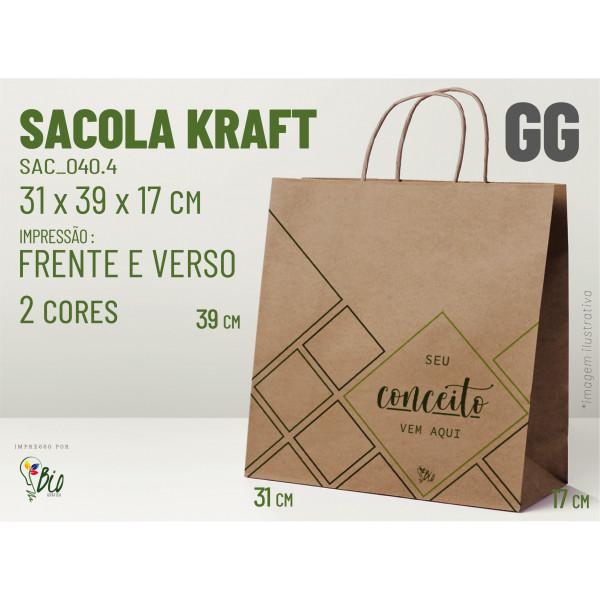 """Sacola Kraft """"GG"""" - Impressão 2 Cores, 2 Lados"""