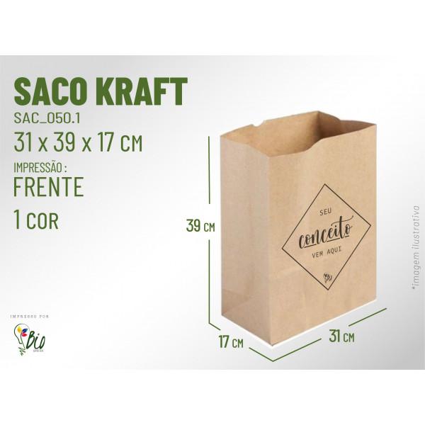 Saco Kraft Delivery - Impressão 1 Cor, 1 Lado