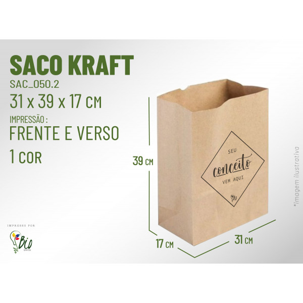 Saco Kraft Delivery - Impressão 1 Cor, 2 Lados