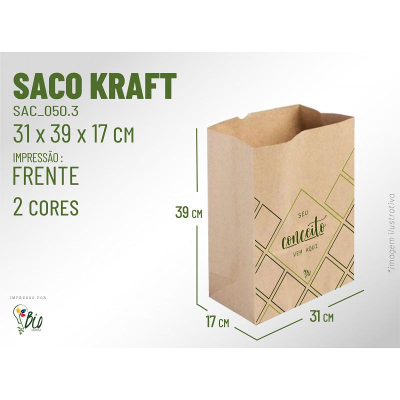 Saco Kraft Delivery - Impressão 2 Cores, 1 Lado