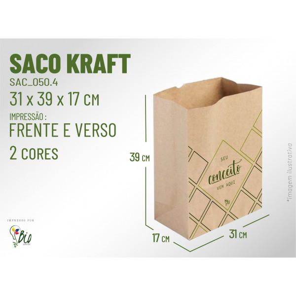Saco Kraft Delivery - Impressão 2 Cores, 2 Lados