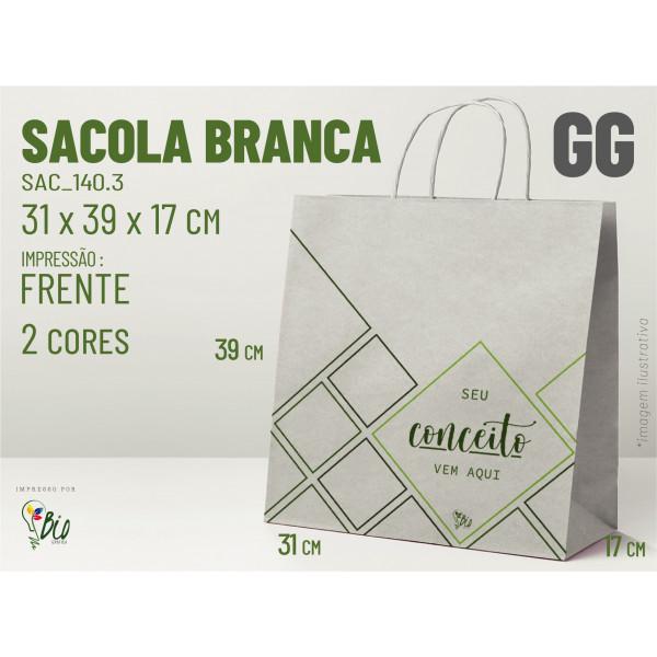 """Sacola Branca """"GG"""" - Impressão 2 Cores, 1 Lado"""